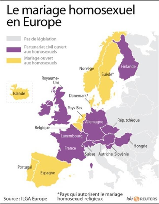 Les Etats permettent le mariage homosexuel