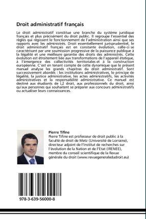 La 4e de couverture de l'ouvrage de Pierre Tifine, Droit administratif français, Editions juridiques franco-allemandes. 2012.
