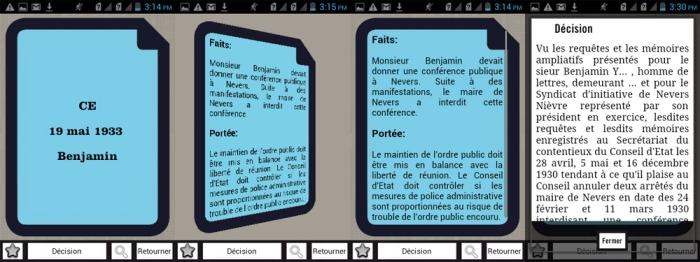 Exemple d'une carte du jeu : l'arrêt Benjamin avec son recto, son verso, et la possibilité de consulter la décision intégrale.