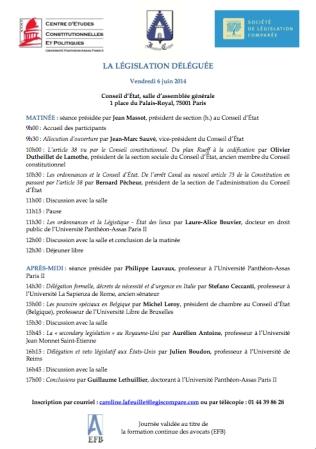 2014-06-06 - CECP - La legislation deleguee - Affiche