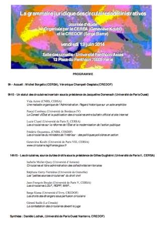 2014-06-13 - CERSA - La grammaire juridique des circulaires - Affiche