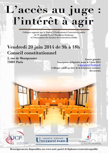 Colloque 2014 AJCP - L'accès au juge : l'intérêt à agir