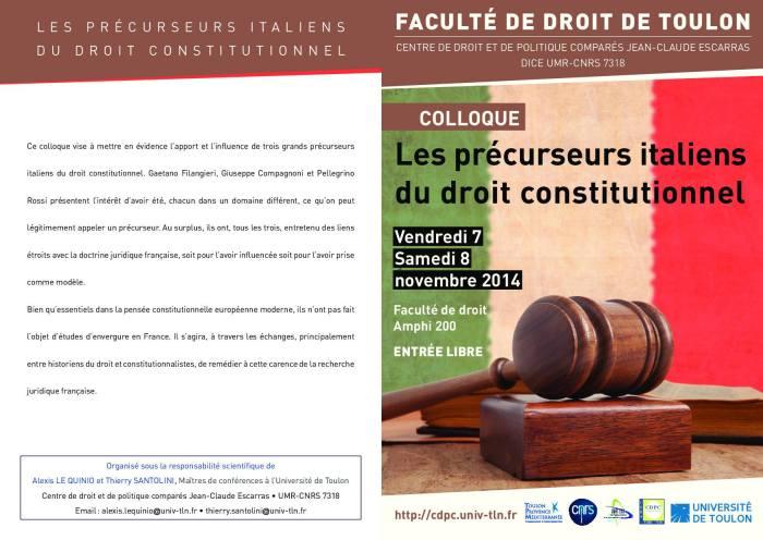 2014-11-07 - CDPC - Les precurseurs italiens du droit constitutionnel - Programme 1