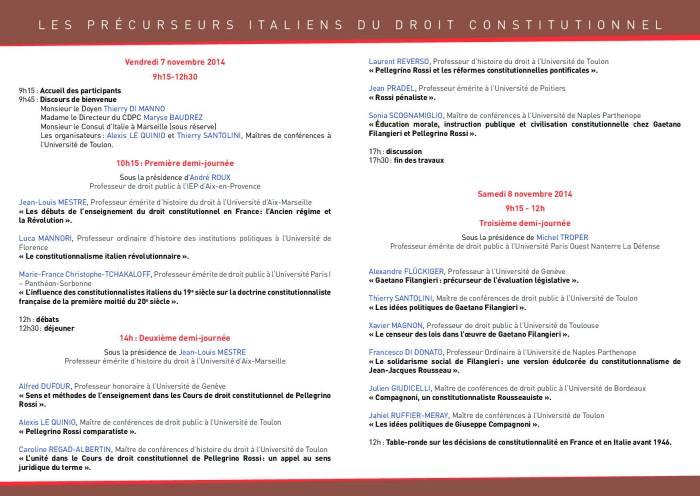 2014-11-07 - CDPC - Les precurseurs italiens du droit constitutionnel - Programme 2